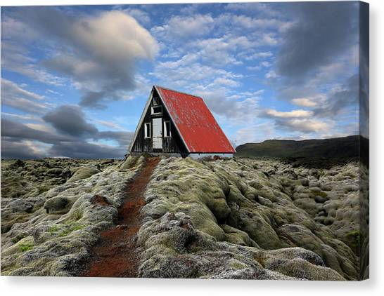 House Canvas Print - The Red Path To The Red Roof by Michel Romaggi