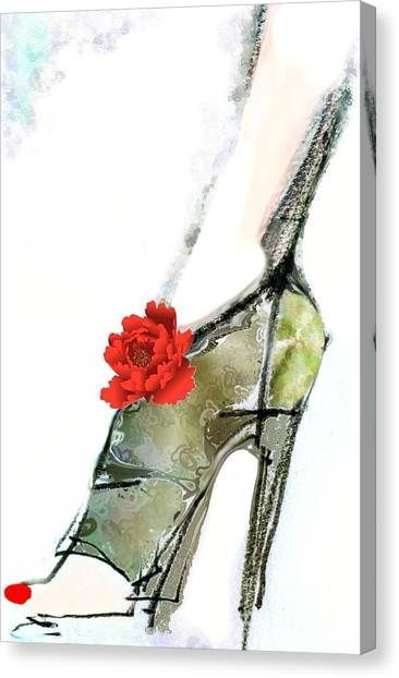 The Red Peony Shoe Canvas Print