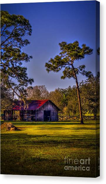 Old Country Roads Canvas Print - The Red Roof Barn by Marvin Spates