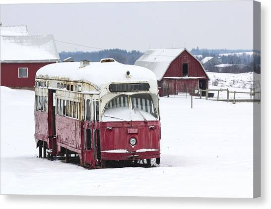 The Red Streetcar Canvas Print