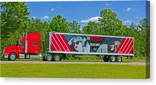 Taylor Swift Canvas Print - The Red Tour Truck by Andy Lawless