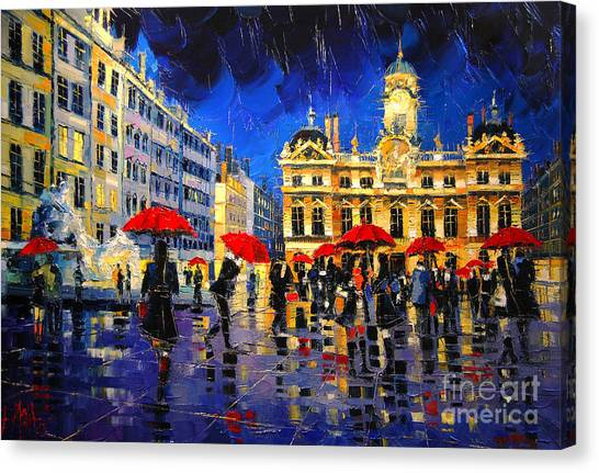 The Red Umbrellas Of Lyon Canvas Print