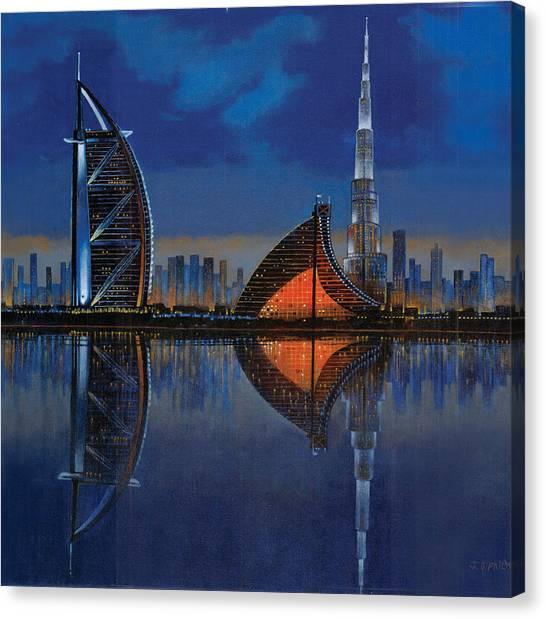 Dubai Skyline Canvas Print - The Reflection  by Art Tantra