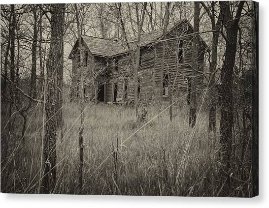 Abandoned House Canvas Print - The House In The Woods by Mary Lee Dereske