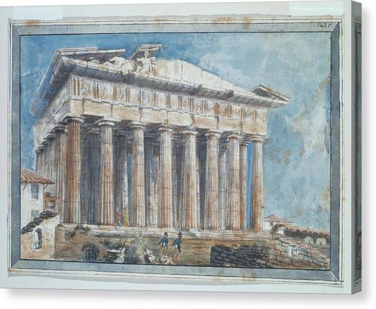 The Parthenon Canvas Print - The Removal Of The Sculptures From The Pediments Of The Parthenon By Elgin by William Gell
