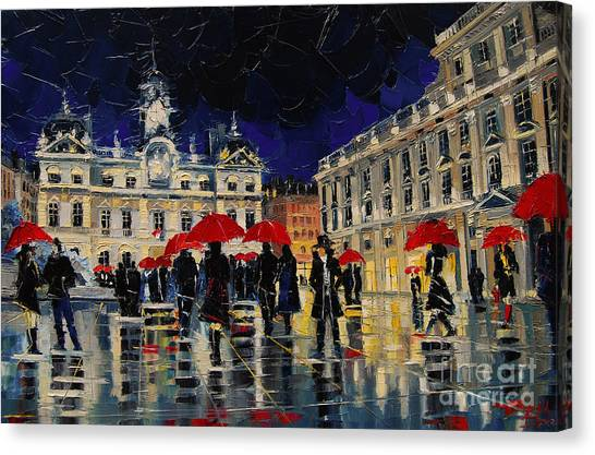Facade Canvas Print - The Rendezvous Of Terreaux Square In Lyon by Mona Edulesco
