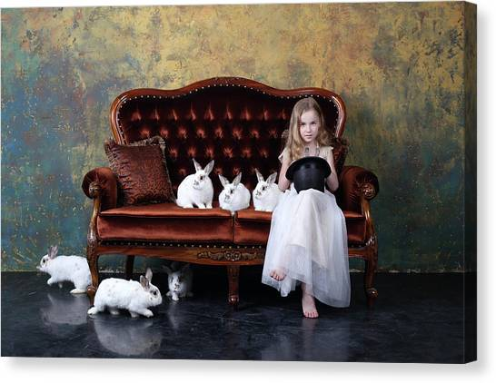 Humour Canvas Print - The Riddle Or how Many Rabbits Are There On The Photo? by Victoria Ivanova