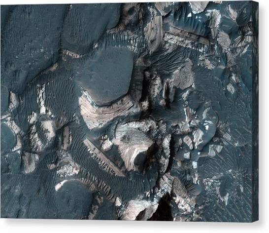 Outer Rim Canvas Print - The Rim Of Holden Crater In Mars by Celestial Images