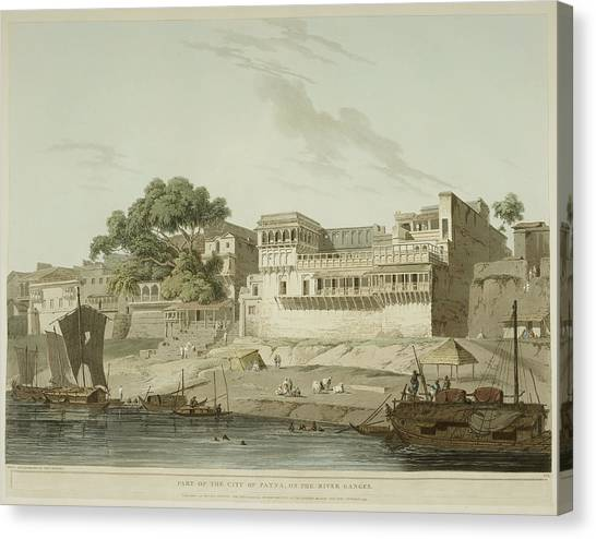 Ganges Canvas Print - The River Ganges And Patna City by British Library