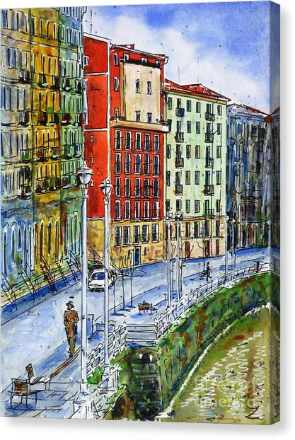 The Riverside Houses At Bilbao La Vieja Canvas Print