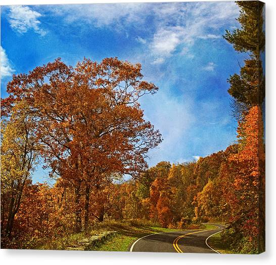 Shenandoah National Park Canvas Print - The Road To Autumn by Kim Hojnacki