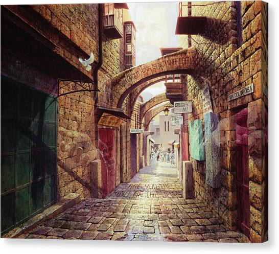 Biblical Canvas Print - The Road To The Cross  Jerusalem by Graham Braddock