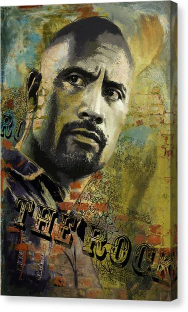 Wwe Canvas Print - The Rock by Corporate Art Task Force