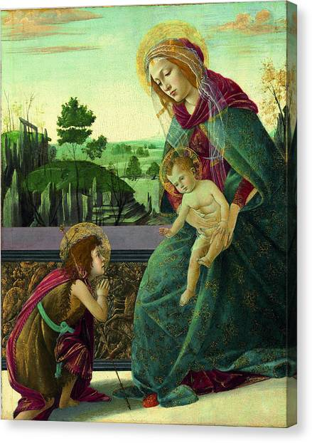 Botticelli Canvas Print - The Rockefeller Madonna. Madonna And Child With Young Saint John The Baptist by Sandro Botticelli