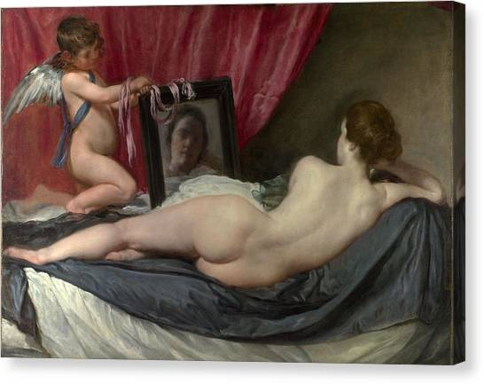 Erotic Framed Canvas Print - The Rokeby Venus by Diego Velazquez