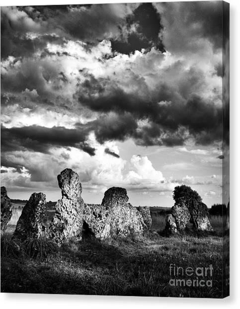 Rainclouds Canvas Print - The Rollright Stones by Tim Gainey