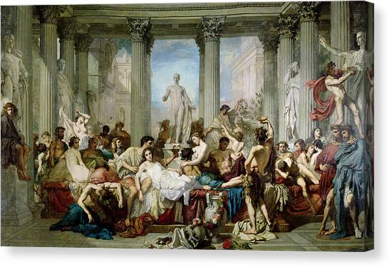 Drunk Canvas Print - The Romans Of The Decadence, 1847 Oil On Canvas by Thomas Couture