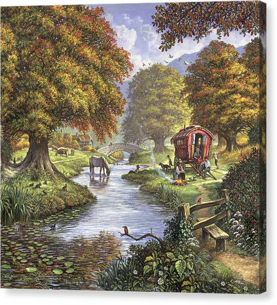 Caravan Canvas Print - The Romany Camp by MGL Meiklejohn Graphics Licensing
