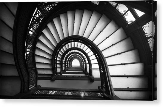 Canvas Print featuring the photograph The Rookery Staircase In Black And White by Kelly Hazel