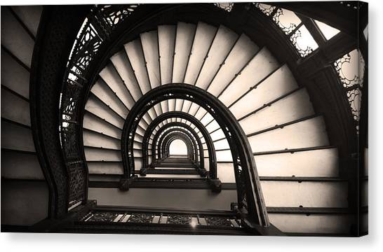 Canvas Print featuring the photograph The Rookery Staircase In Sepia Tone by Kelly Hazel