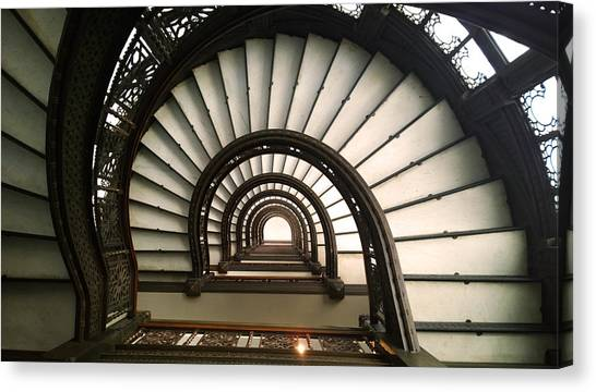Canvas Print featuring the photograph The Rookery Staircase Lasalle St Chicago Illinois by Kelly Hazel
