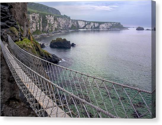 Canvas Print featuring the photograph Rope Bridge Northern Ireland by Georgi Djadjarov