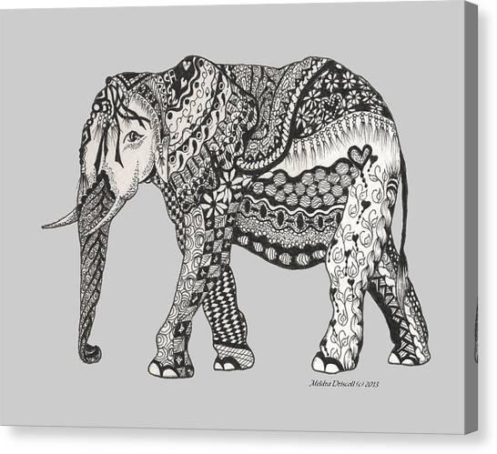 The Royal Elephant Zentangled Canvas Print
