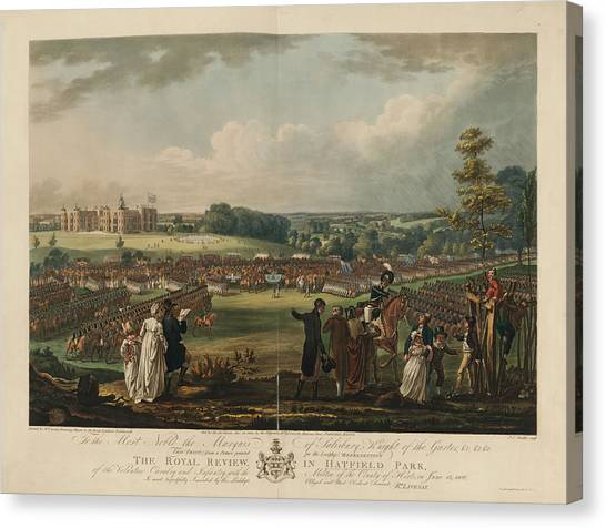 Volunteer Infantry Canvas Print - The Royal Review In Hatfield Park by British Library