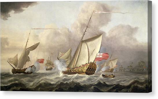 Royal Marines Canvas Print - The Royal Yacht Mary Exchanging Salutes, 18th Century by Cornelis van de Velde