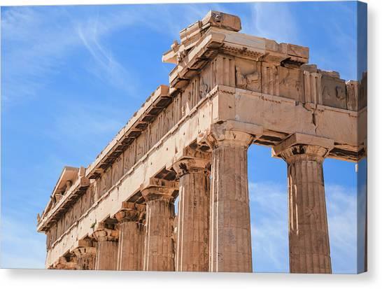 The Ruins Of The Parthenon, Acropolis Canvas Print