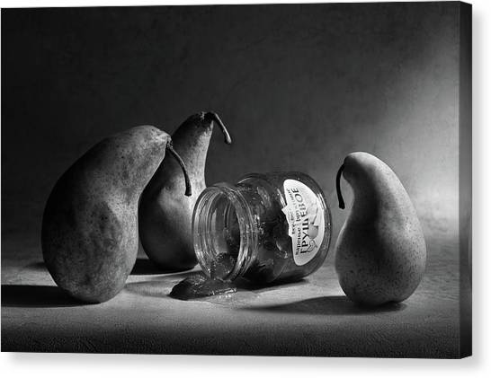 Pears Canvas Print - The Sad Farewell/ The 3rd Part Of The Jam Triptych by Victoria Ivanova