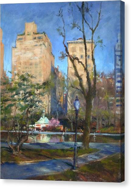 The Sailboat Pond In Central Park Canvas Print