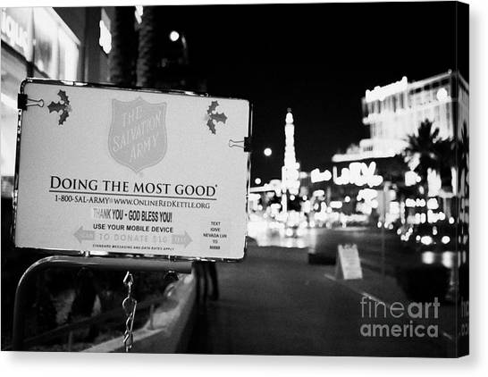 Salvation Army Canvas Print - the salvation army christmas collection point on the Las Vegas boulevard Nevada USA by Joe Fox
