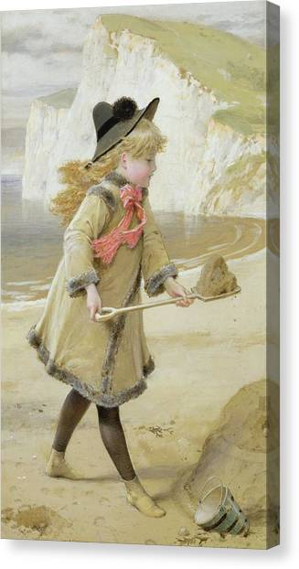 Sand Castles Canvas Print - The Sand Castle by William Stephen Coleman