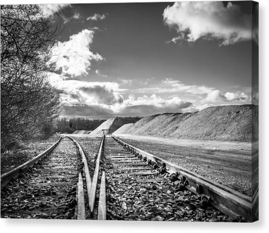 Canvas Print featuring the photograph The Sand Quarry Tracks. by Gary Gillette