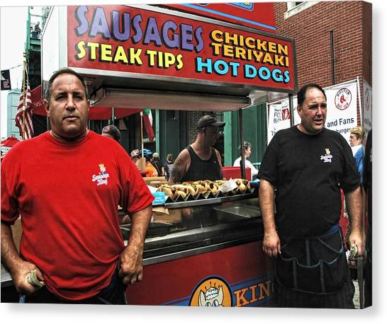 Fenway Park Canvas Print - The Sausage Kings - Boston by Joann Vitali