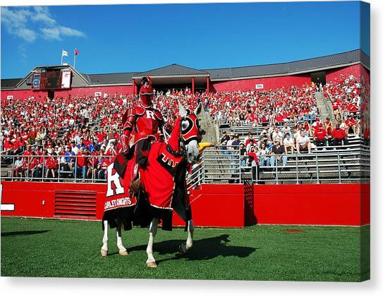 Gridiron Canvas Print - The Scarlet Knight And His Noble Steed by Allen Beatty