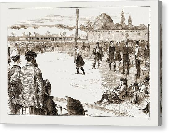 Stamford Bridge Canvas Print - The Scottish Gathering At Stamford Bridge Tossing The Caber by Litz Collection