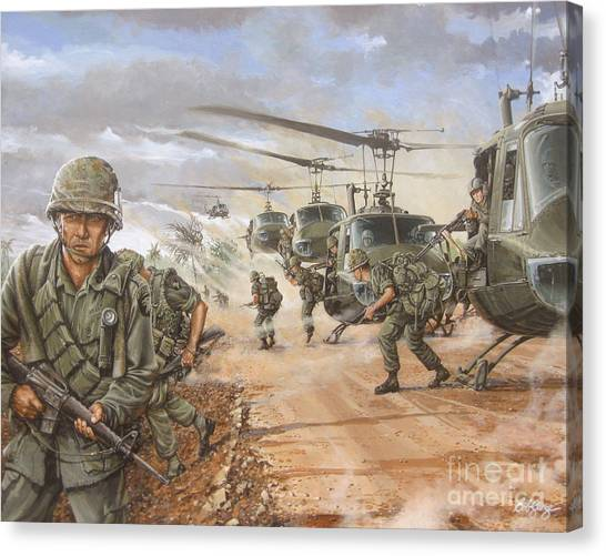 Vietnam War Canvas Print - The Screaming Eagles In Vietnam by Bob  George