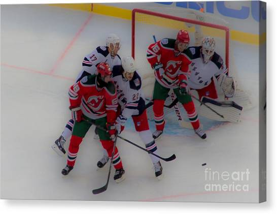 New Jersey Devils Canvas Print - The Screen by David Rucker