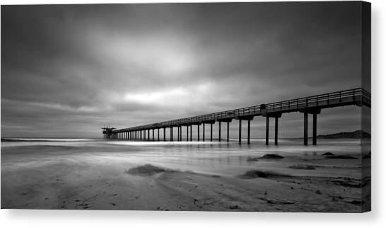 Scripps Pier Canvas Print - The Scripps Pier - Black And White by Peter Tellone