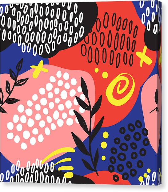 Printmaking Canvas Print - The Seamless Colorful Pattern With by Ekaterina Bedoeva