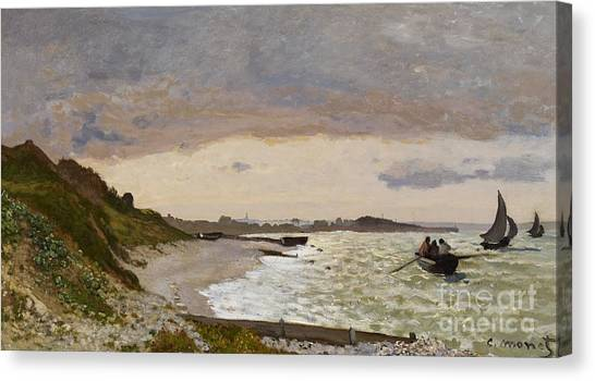 Grey Clouds Canvas Print - The Seashore At Sainte Adresse by Claude Monet