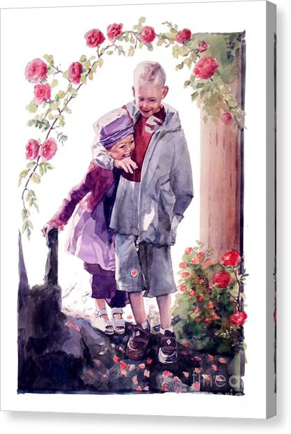 Watercolor Of A Boy And Girl In Their Secret Garden Canvas Print