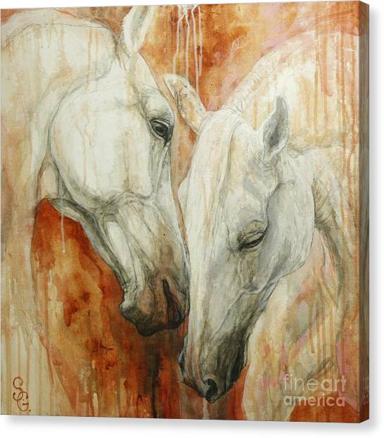 White Horse Canvas Print - The Secret by Silvana Gabudean Dobre