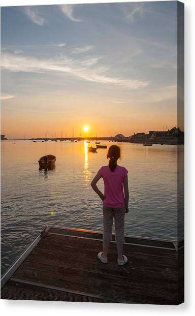 The Setting Sun With Child Canvas Print