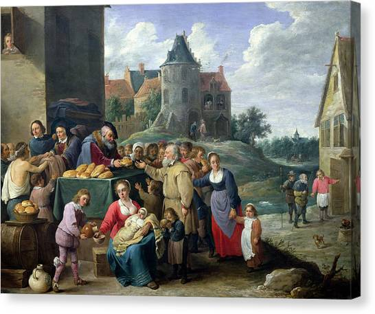 Charities Canvas Print - The Seven Acts Of Mercy Oil On Card by David the Younger Teniers