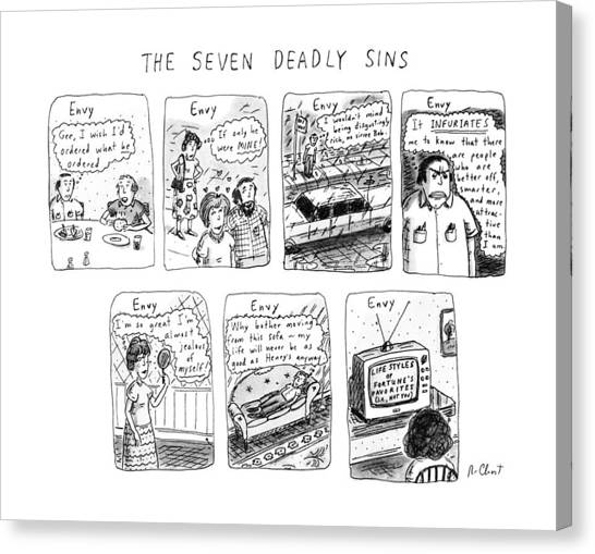 Etc Canvas Print - The Seven Deadly Sins by Roz Chast