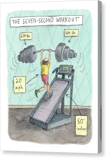 Workout Canvas Print - The Seven Second Workout by Roz Chast