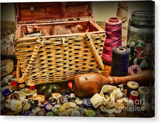 Pin Cushions Canvas Print - The Sewing Basket by Paul Ward